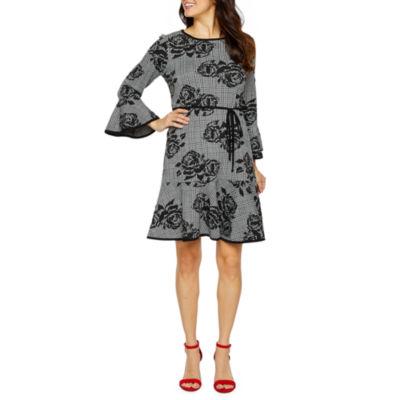 Soho Long Sleeve Plaid Fit & Flare Dress