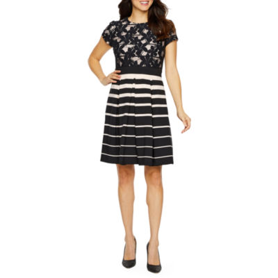 Danny & Nicole Short Sleeve Lace Striped Fit & Flare Dress