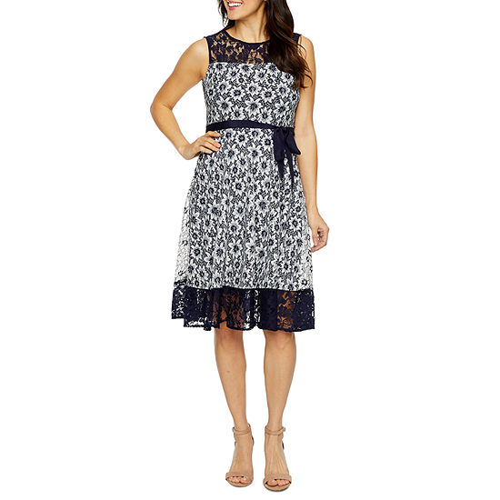 Danny & Nicole Sleeveless Lace Floral Fit & Flare Dress