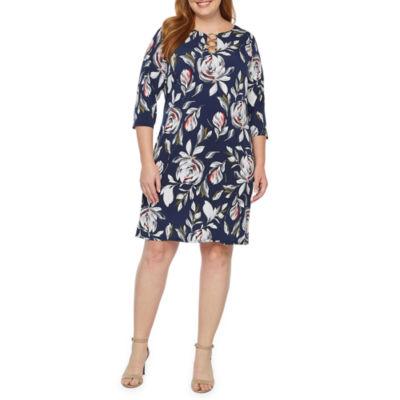 MSK 3/4 Sleeve Floral Fit & Flare Dress-Plus