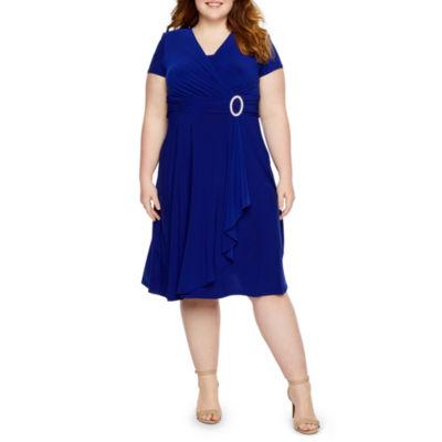 R & M Richards Short Sleeve Embellished Evening Gown - Plus