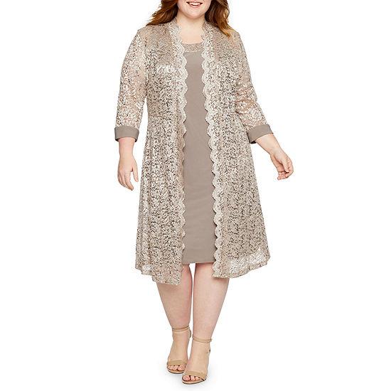 R & M Richards 3/4 Sleeve Lace Jacket Dress-Plus
