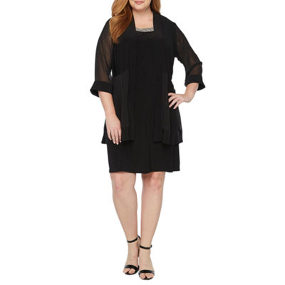 Scarlett 3/4 Sleeve Embellished Jacket Dress - Plus