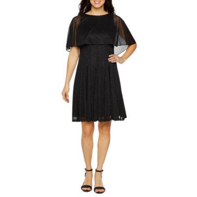 J Taylor Sleeveless Embellished Cape Fit & Flare Dress