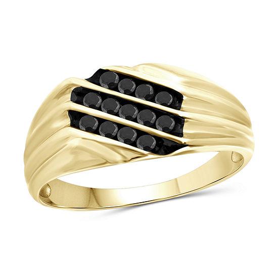 Mens 1 4 Ct Tw Genuine Black Diamond 14k Gold Over Silver Ring