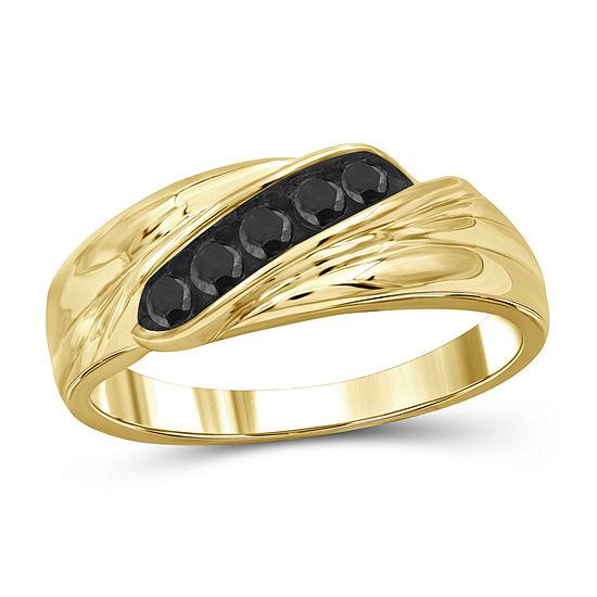 Mens 1/3 CT. T.W. Genuine Black Diamond 14K Gold Over Silver Fashion Ring