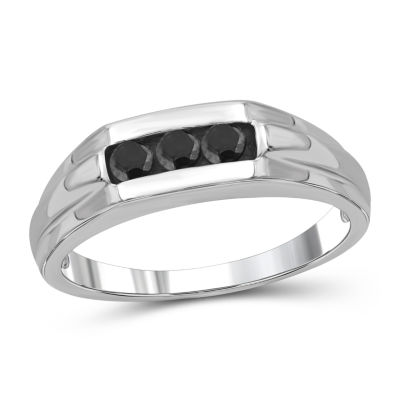 Mens 1/3 CT. T.W. Genuine Black Diamond Sterling Silver Ring