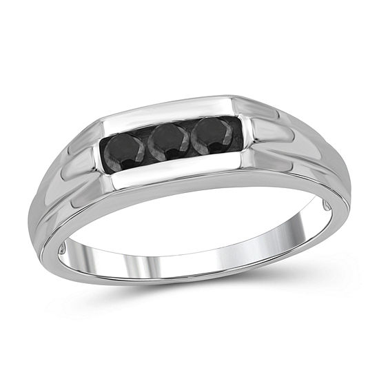 Mens 1 3 Ct Tw Genuine Black Diamond Sterling Silver Ring