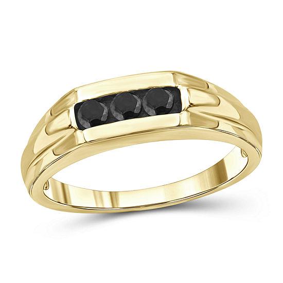 Mens 1/3 CT. T.W. Genuine Black Diamond 14K Gold Over Silver Ring