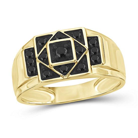 Mens 1/4 CT. T.W. Genuine Black Diamond 14K Gold Over Silver Ring