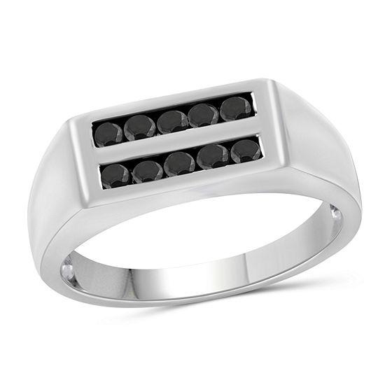 Mens 1 2 Ct Tw Genuine Black Diamond Sterling Silver Ring
