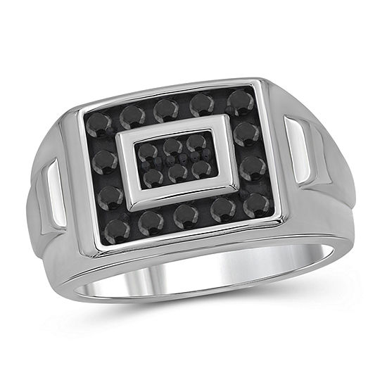 Mens 1/2 CT. T.W. Genuine Black Diamond Sterling Silver Ring