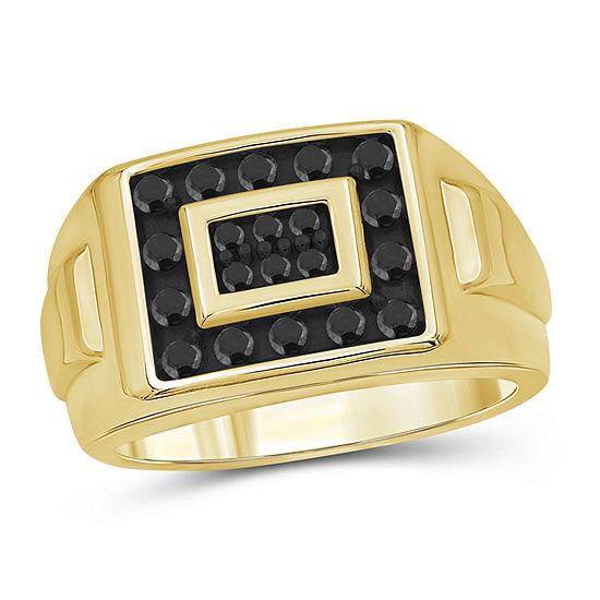 Mens 1/2 CT. T.W. Genuine Black Diamond 14K Gold Over Silver Ring
