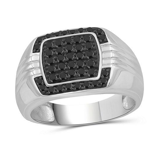 Mens 1/2 CT. T.W. Genuine Black Diamond Sterling Silver Ring