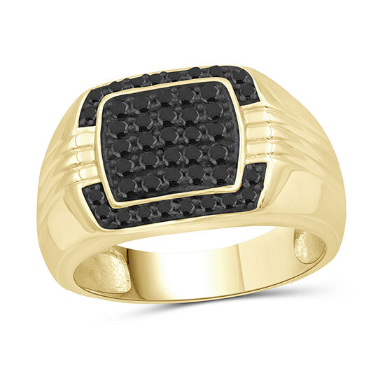 Mens 1/2 CT. T.W. Genuine Black Diamond 14K Gold Over Silver Ring
