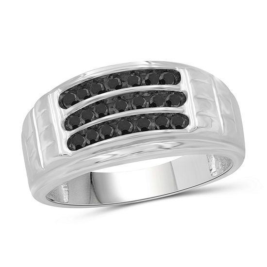 Mens 3/4 CT. T.W. Genuine Black Diamond Sterling Silver Ring