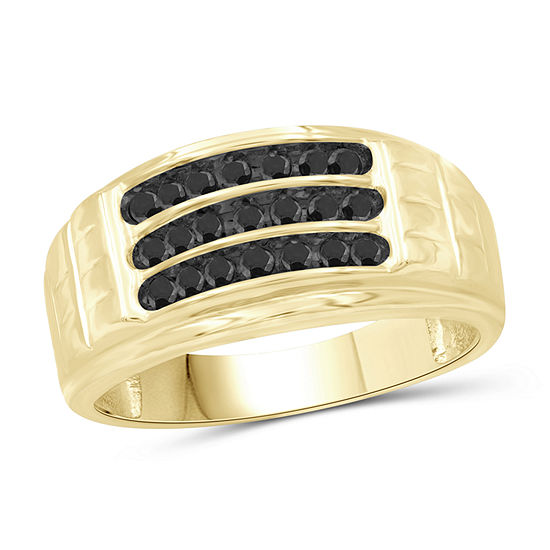 Mens 3/4 CT. T.W. Genuine Black Diamond 14K Gold Over Silver Ring