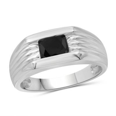 Mens 3/4 CT. T.W. Genuine Black Diamond Sterling Silver Ring