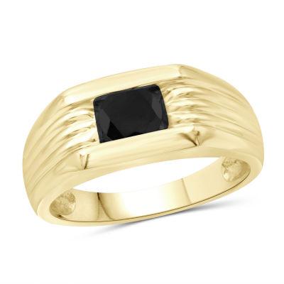 Mens 3/4 CT. T.W. Genuine Black Diamond 14K Gold Over Silver Ring