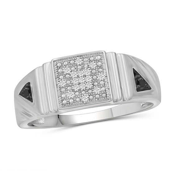 Mens 1/7 CT. T.W. Genuine Black Diamond Sterling Silver Ring