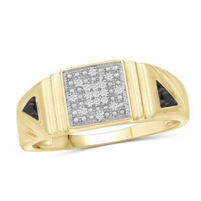 Mens 1/7 CT. T.W. Genuine Black Diamond 14K Gold Over Silver Ring