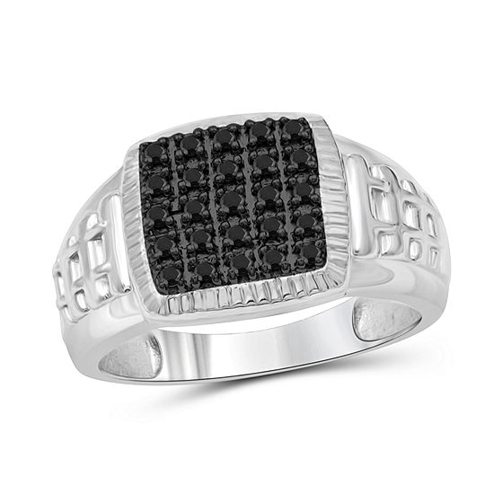 Mens 1 4 Ct Tw Genuine Black Diamond Sterling Silver Ring