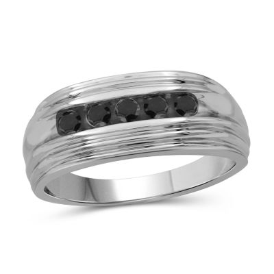 Mens 1/2 CT. T.W. Genuine Black Diamond Sterling Silver Rings