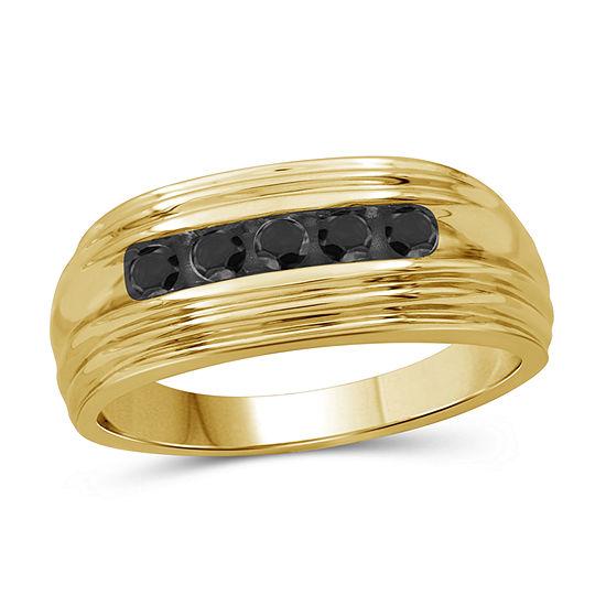 Mens 1/2 CT. T.W. Genuine Black Diamond 14K Gold Over Silver Fashion Ring