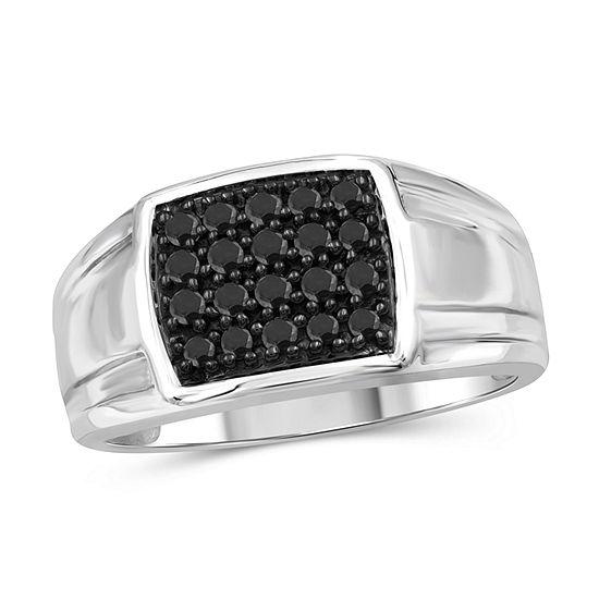 Mens 1/2 CT. T.W. Genuine Black Diamond Sterling Silver Fashion Ring