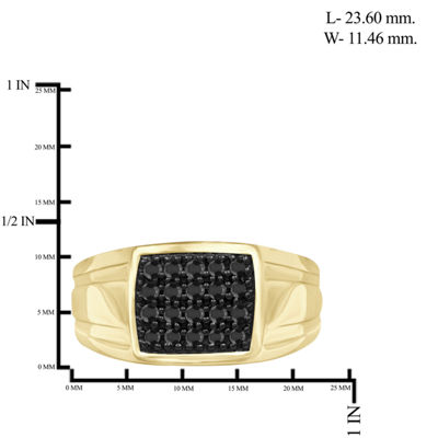 Mens 1/2 CT. T.W. Genuine Black Diamond 14K Gold Over Silver Mens Fashion Rings