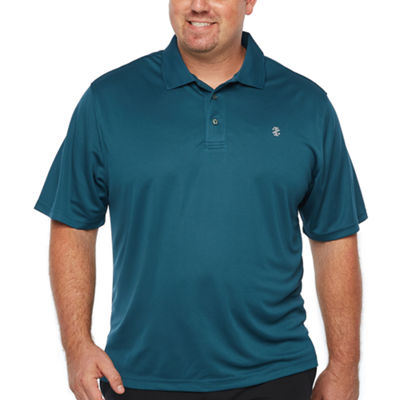 IZOD Ss Champion Short Sleeve Grid Jacquard Polo Shirt- Big and Tall