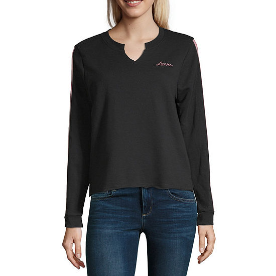 Self Esteem Juniors Womens Split Crew Neck Long Sleeve Sweatshirt