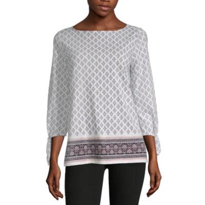 Liz Claiborne 3/4 Sleeve Boat Neck Pattern T-Shirt-Womens