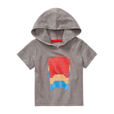 Okie Dokie Baby Boys Hooded Neck Short Sleeve Graphic T-Shirt