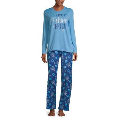 Hanukkah Family Womens-Petite Pant Pajama Set 2-pc. Long Sleeve