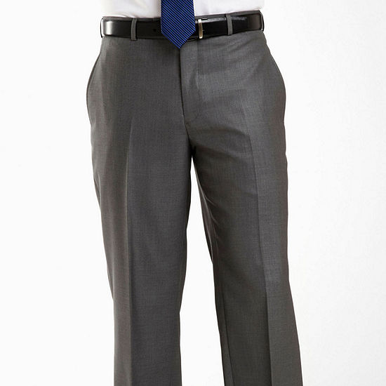 J.Ferrar Flat Front Gray Sharkskin Big Woven Suit Pants