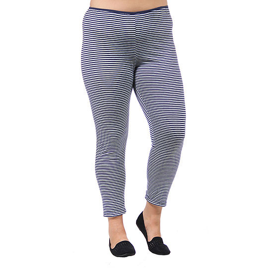 24/7 Comfort Apparel Stripped Stretch Ankle Length Leggings - Plus