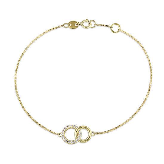 1/10 CT. T.W. Genuine White Diamond 14K Gold Charm Bracelet