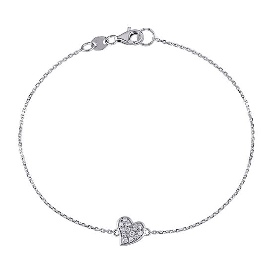 14K White Gold 7 Inch Cable Chain Bracelet