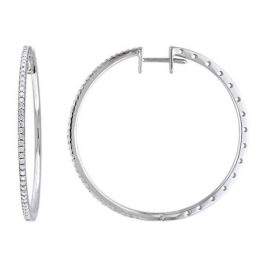 1/2 CT. T.W. Genuine White Diamond 10K White Gold 38.7mm Hoop Earrings