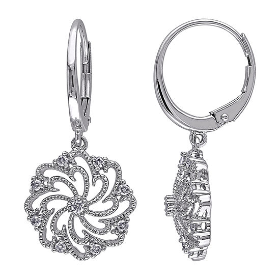 1/4 CT. T.W. Genuine White Diamond 10K White Gold Drop Earrings