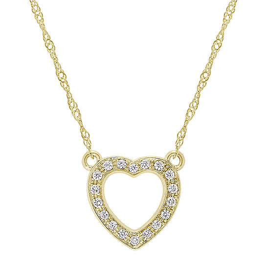 Womens 1/10 CT. T.W. Genuine White Diamond 14K Gold Pendant Necklace