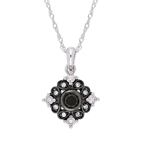 Womens 1/5 CT. T.W. Genuine Black Diamond 10K White Gold Pendant Necklace