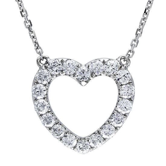 Womens 1/2 CT. T.W. Genuine White Diamond 14K White Gold Heart Pendant Necklace