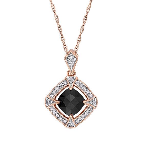Womens 1/5 CT. T.W. Genuine Black Diamond 10K Rose Gold Pendant Necklace