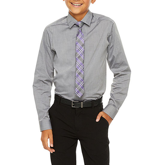 Van Heusen Flex Big Boys Button Down Collar Long Sleeve Shirt + Tie Set