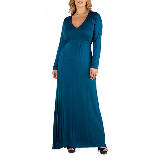 24/7 Comfort Apparel Semi Floral Long Sleeve Maxi Dress - Plus