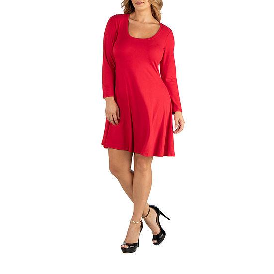 24/7 Comfort Apparel Long Sleeve Flared T-Shirt Dress - Plus