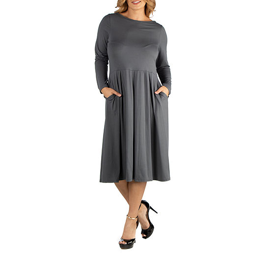 24/7 Comfort Apparel Midi Length Fit and Flare Pocket Dress - Plus