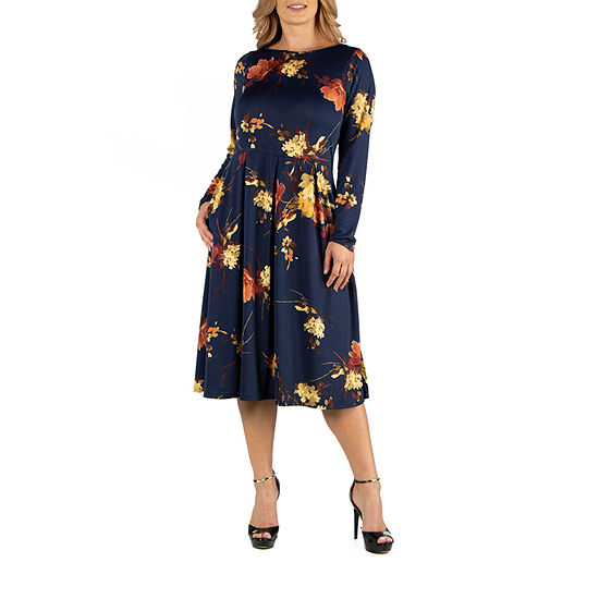 24/7 Comfort Apparel Long Sleeve Floral Fit and Flare Midii Dress - Plus